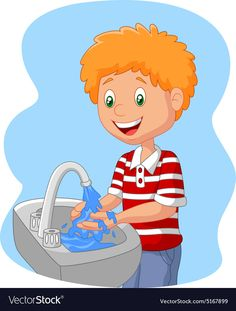 Young boy washing her hands vector image on VectorStock Cute Cartoon Girl, Cartoon Kids, Cartoon Images, Drawing For Kids, Art For Kids, All About Me Preschool, Logo Clipart, Christmas Writing, Scrapbook Patterns