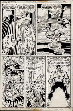 Defenders #17 page 16 Dan Green, Sal Buscema, Luke Cage, Defenders, Art Gallery, Marvel, Cards, Art Museum, Maps