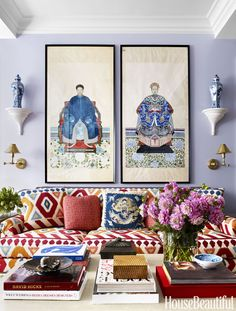 Walls in Benjamin Moore's Misty Lilac ground lively patterns in a Park Avenue living room. Two 19th-century Chinese ancestral paintings hang over the sofa, framed by ginger jars on wall brackets. The boldest gesture in the vibrant space is Hickory Chair's Carter sofa, upholstered in an overscale ikat by Brunschwig & Fils.