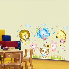 The Fashion Seller-Cartoon Animals' Party PVC Wall Stickers Wall Art Decals ** Remarkable discounts available  : Nursery Decor
