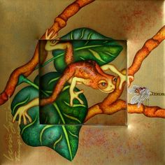 Curious     Artist   Luis Sottil      Subject   frogs     Medium   Gold Leaf  Natural Pigments on Canvas     Category   Painting     Circa   2011     Dimensions   H 17in x W 17in