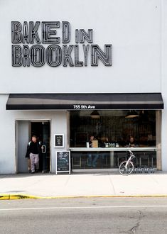 The Baked in Brooklyn store to see what else you do well besides pita chips (prospect park) Bakery Interior, Cafe Interior Design, Cafe Design, Store Design, Design Commercial, Storefront Signs, Cafe Concept, Small Home Offices, Coffee Shop Design