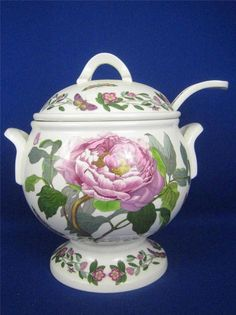 PORTMEIRION Botanic Garden Peony and Passion Flowers Footed Soup Tureen & Ladle #Portmeirion