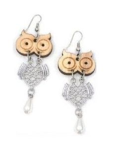 Laser-cut wooden earrings that dance and dangle with moveable parts Wooden owl head with silver plated body and lovely pearl drop Lead-free french hook  The owl is a symbol of wisdom- Large...@ artfire