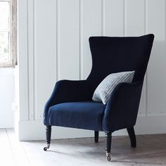 bromley wing back chair in midnight velvet | rowen and wren.