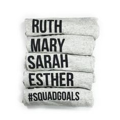 """This is a super-soft tri-blend t-shirt with our """"Ruth Mary Sarah Esther #Squadgoals"""" design. Be inspired by the women of the Bible! This item is Unisex and runs True to Size and fits as a women's rela"""