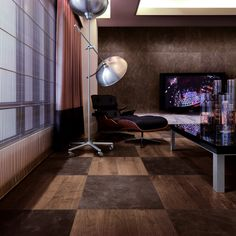 Trio Parquet - Floor : STP Wood+ Walnut American Wall : Wood Leather Liso Morocco - Made in SPAIN