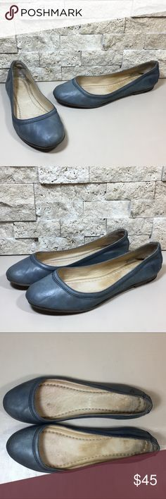 Frye Carson Ballet Flats Frye Carson blue leather ballet flat shoes. Great preloved condition, some soil wear, little wear to the sole, please see photos. Women's size 8. Frye Shoes Flats & Loafers