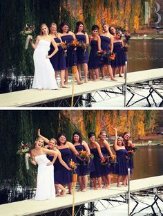 Wedding Photography - Bridesmaids pose how they think the groomsmen would pose & how they think the groomsmen think they pose.  Adorable.