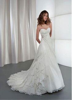 Glamourous Organza Satin & Satin A-line Sweetheart Asymmetrical Waistline Wedding Dress