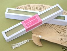 80 Sandalwood Fan Elegant Asian Beach Theme Wedding Favors Glass Top Box | eBay