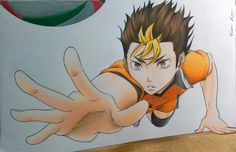 Colour pencil drawing of Nishinoya Yuu  #Nishinoya #Yuu #NishinoyaYuu #Noya #Noyasan #Haikyuu #Haikyu #HQ #Karasuno #Volleyball #Crows #Libero #RollingThunder #Art #Anime #Manga #Drawing #Colour #Pencil
