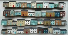 Hand painted little houses by Valériane Leblond - do this to all themonopoly ho. Wood Crafts, Fun Crafts, Arts And Crafts, Building Art, Model Building, Little Houses, Tiny Houses, Art Houses, Wood Houses