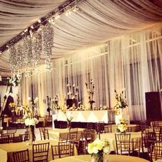 Draping the entire room and light the room can totally soften the space. Wedding Ceiling Decorations, Tent Decorations, Ceiling Draping, Ceiling Lights, Tent Wedding, Our Wedding, Ethnic Wedding, Dropped Ceiling, Atlanta Wedding