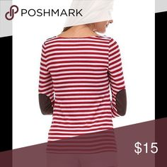 Red and white striped top Elbow patched Long Sleeve, red and white striped top. Hand wash only. Tops Tees - Long Sleeve