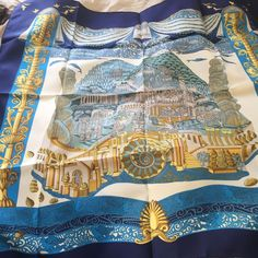 New, Never used in package Hermes Blue Gold Metallic Silk Maillons 90cm Scarf #Scarf