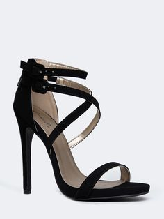- Make a glamorous entrance in these minimalist black heels! - Vegan nubuck straps crisscross the vamp and an ankle strap will give you effortless appeal. Zipper closure in the back. - Non-skid sole a