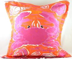Shelling at Sunset Pink Crab Indoor Outdoor Pillow