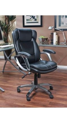 The Manager Chair is approved by the American Chiropractic Association. It features exceptional comfort, quality and style, perfect for any home or office. This comfortable executive chair is upholstered in black durably smooth Puresoft® faux leather with contrasting seams.
