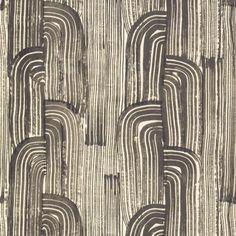 crescent paper | wallpaper - ebony | cream / color sample