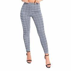 Mujer Alto Cintura Raya Recortes Pata de Gallo Delgado Flaco Pantalones  Yoga Pantalones Deportivos Mujer Largos 4b9536a74cfc