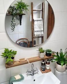 boho Bathroom Decor If you desire to grant a milit - bathroomdecor Bathroom Interior Design, Interior Decorating, Bohemian Decorating, Bohemian Design, Bohemian Style, Decorating Ideas, Boho Bathroom, Bathroom Plants, Bathroom Ideas