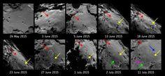 + - Elas podem não parecer, mas cada uma destas fotos da sonda Rosetta é do mesmo local noCometa 67P/ Churyumov-Gerasimenko, dentro do período de somente seis curtas semanas. Algo está ocorrendo lá, mas o que seria? Esta região do cometa emparticular tem sido monitorado pela ESA desde agosto de 2014, e nada estava acontecendo. …