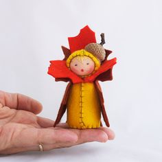 Thanksgiving Decor Felt Doll Autumn Acorn by GigiInStitches, $22.00