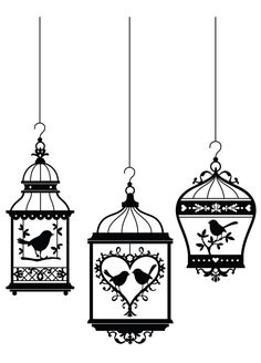Beautiful Birdcages. Put under parchment paper, trace in (colored) glue, let dry, use as decal, maybe on mirror (or mylar) for our succah.