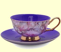 Shelley...Purple teacup and saucer...'English Rose'.