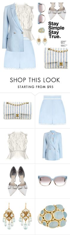 """""""Cotton candy blue"""" by pensivepeacock ❤ liked on Polyvore featuring Chanel, Zimmermann, Christian Dior, Balenciaga and Temple St. Clair"""