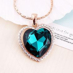 Crystal Necklaces For Women Heart Shape Pendant 18k Gold Plated Chokers Wholesale Necklace Chains The Heart Of The Ocean Pendants Necklaces Lockets Fashion Jewelry From Angelrings, $8.38| Dhgate.Com