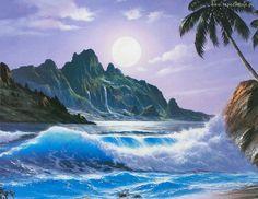 Fantasy Landscape, Landscape Art, Landscape Paintings, Fantasy Paintings, Cross Paintings, Double Exposition, Moonlight Painting, Scenery Pictures, Beautiful Nature Wallpaper