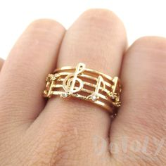 Musical Notes on Score Shaped Music Themed Ring in Gold | DOTOLY