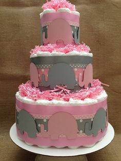 Modern Pink and Gray Elephant Diaper Cake for a Baby Shower Centerpiece and New Baby Gift on Etsy, $64.99