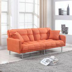 Amazon.com: Divano Roma Furniture Collection - Modern Plush Tufted Linen Fabric Splitback Living Room Sleeper Futon (Orange): Kitchen & Dining
