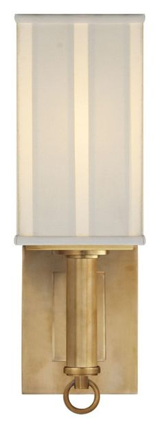 Thomas O'Brien Germain Single Sconce in Hand-Rubbed Antique Brass with Silk Pleated Shade by Visual Comfort TOB2128HAB-S