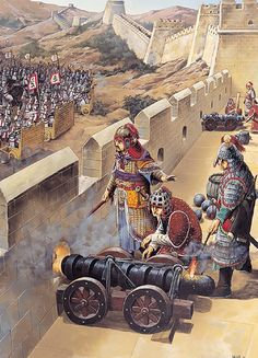 Ming Chinese cannon on the Great Wall of China, 1629