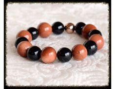 SUN PRINCESS   brown and black stones bracelet  by stonebracelets, $27.00