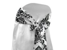 LA Linen by Damask Taffeta Chair Sashes/Pack of 10 / Black On White. Damask Wedding, Bow Tie Wedding, Wedding Linens, Wedding Decor, Black Dining Chairs, Chair Sashes, Dining Chair Slipcovers, White Damask, Wedding Guest Book