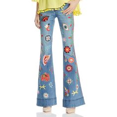 Alice + Olivia Rylie Embroidered Low-Rise Bell Bottom Jeans in Faded... ($795) ❤ liked on Polyvore featuring jeans, faded jeans, flare denim jeans, low rise flare jeans, blue jeans and faded denim jeans