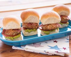 Turkey Bacon Avocado Sliders Use quick and easy Warm-N-Serv® Buttery Dinner rolls to make mini burgers that pack a punch! #rhodesbread