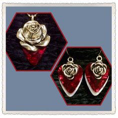 Red Rose guitar pick necklace and earrings $21 each