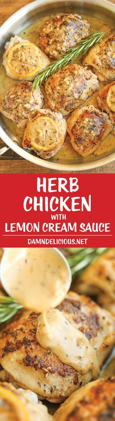 Herb Chicken with Lemon Cream Sauce - This cream sauce is seriously out of this world. So tangy, buttery, creamy and just melt-in-your-mouth AMAZING! (cooking with kids chicken) Turkey Recipes, Dinner Recipes, Low Cal Chicken Recipes, Dinner Entrees, Chicken Meals, Lemon Cream Sauces, Cream Sauce Recipes, Cooking Recipes, Healthy Recipes