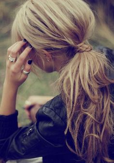 Twisted Hair with Messy Ponytail, small braid