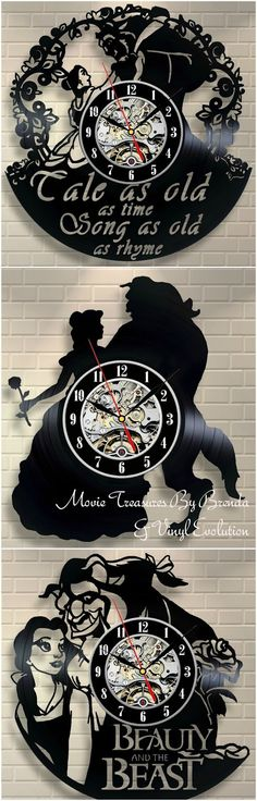 Movie Treasures By Brenda: Upcycled Beauty And The Beast Vinyl Record Wall Clock. Movie Treasures By Brenda: Upcycled Beauty And The Beast Vinyl Record Wall Clock. Walt Disney, Disney Pixar, Disney Home, Disney And Dreamworks, Disney Magic, Disney Art, Disney Movies, Disney Stuff, Disney Clocks