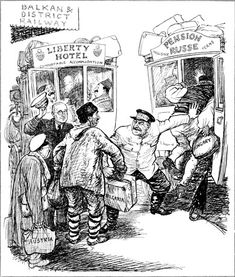 This cartoon of 18 June 1947 by EH Shepard for the British magazine Punch shows Truman and Stalin as two taxi-drivers trying to get customers.  The 'customers' are labelled 'Turkey', 'Hungary', 'Bulgaria', 'Austria'.
