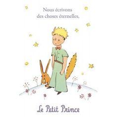 Golden vertical card The Little Prince 10 x 15 cm - Nous écrivons des choses éternelles on the Little Prince's Boutique, official online store of the Little Prince universe.