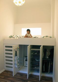 "The only ""child's room"" idea I seem to like: mezzanine bed with storage and wardrobe underneath"