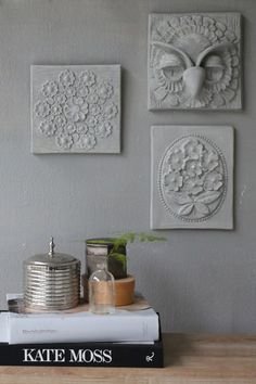 Inspiration: use plywood, wood cut outs, found objects, faux flowers, etc. - layout design & glue - cover entire piece w/ gesso or plaster & paint when dry